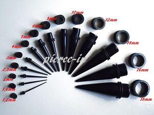 Set Tunnel Dehnstab schwarz ab 1,2mm Titan Acryl Expander Plug Dehnungsstab Ohr
