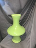 Art Deco Lime Green Large Heavy Vase Glazed Ceramic Modernist Art Pottery 11""
