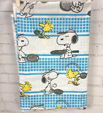 Vintage Snoopy + Woodstock Playing Tennis Flat Sheet Twin Bed Tastemaker Cotton