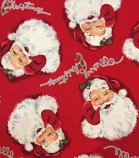 RETRO VINTAGE MERRY CHRISTMAS SANTA BY ALEXANDER HENRY Cotton Fabric OOP HALF YD