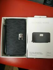 MICHAEL KORS NEW LARGE Multifunction Wallet Black Leather Zip Around