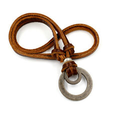 Leather Cord Necklace for Man Boy Boyfriend Adjustable Double Ring Pendant Gifts