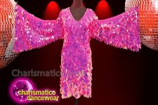 CHARISMATICO Fuchsia diamond sequin drag queen winged dress