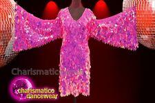CHARISMATICO Fuchsia diamond sequin drag queen winged dress