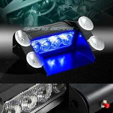 4 LED BLUE EMERGENCY CAR DASHBOARD WARNING FLASH STROBE LIGHT BAR UNIVERSAL 9