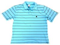 Brooks Brothers 346 Mens L Short Sleeve Cotton Polo Striped Blue