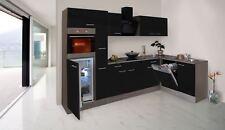respekta Küchenzeile Küche Winkelküche L-Form Eiche York schwarz 310 x 172 cm