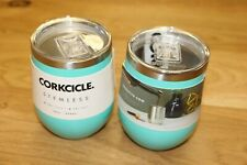 2 New Corkcicle 12oz Insulated Turquoise Stemless Wine Cup 2312GT Blue