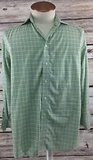 Eton Contemporary Fit Green Checked Dress Shirt Size 15.5 39 MISSING BUTTON