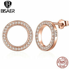 2017 Genuine 925 Solid Silver Forever Rose & Clear CZ Round Circle Stud Earrings