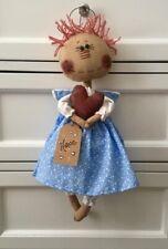 Primitive, Folk Art, Hand Crafted Raggedy Ann Angel Doll