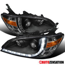 Fits 2004-2005 Honda Civic 2Dr 4Dr Black R8 LED DRL Projector Headlights Pair