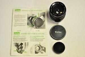 Vivitar 28mm f2.8 manual focus lens with T-4 M42 thread mount w/caps.