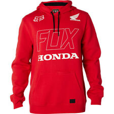Taglia L Felpa Uomo con Cappuccio Fox Honda Pullover Fleece Rosso Hoodie