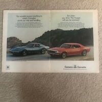 2-Page 1968 Red Chevy Camaro Blue Corvette Print Ad