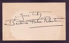 Beatrice Forbes Robinson (d.1967) Signed 3x5 Index Card Autographed Girl Scouts