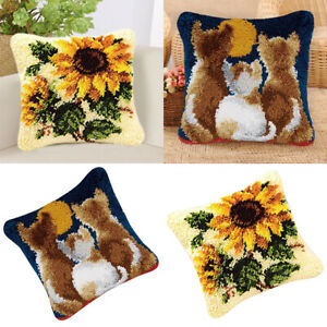 2 Sets Flower Cats Printed Canvas Knüpfteppich Kit Kissenbezug machen