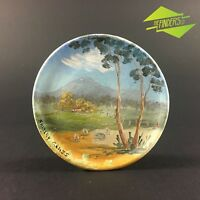 STUNNING VINTAGE SHIRLEY GRASS AUSTRALIAN OIL PAINTING YOU YANGS POTTERY DISC