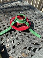 Vintage Christmas Stand By Handy Things Green Red Metal Art Deco Style u.s.a.
