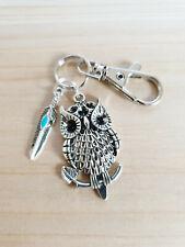 Eulen Schlüsselanhänger mit Feder ♥ Handgefertigter Schmuck in Silber 90mm