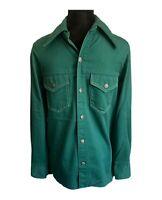 Big Mac JCPenney Work Jacket Vintage 70s Green Denim Shirt Jacket - Men's Medium