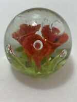 Vintage Hand Blown Glass Paperweight Trumpet Flowers Lily Red/Orange