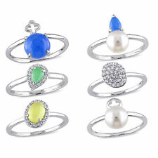 Amour Silver Multi-color Quartz and Wht. Topaz FW Pearl 6-piece Stacked Ring Set