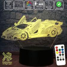 LAMBORGHINI SPORTS CAR 3D LED BATTERY USB NIGHT LIGHT 7 COLOUR'S REMOTE CONTROL
