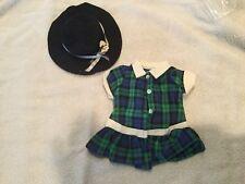 Terri Lee Doll Clothing Blue Green Plaid Drop Waist Dress Felt hat 1950s