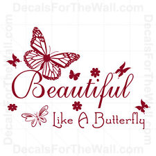Beautiful Like a Butterfly Girl Wall Decal Vinyl Art Sticker Quote Decor J8