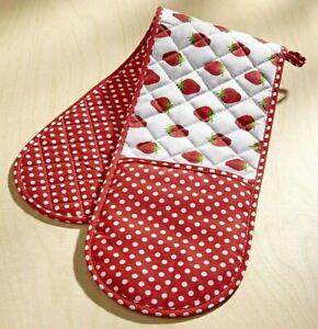 Doppelter Ofenhandschuh Backhandschuh Baumwolle 18 x 88 cm Erdbeeren Pünktchen