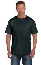 Men's Heavyweight POCKET T- SHIRT Tee Cotton Blend Plain +7 Colors US Size