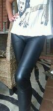 Sabatini Black Stretch Real Leather Ponti Pants Sz XS 8