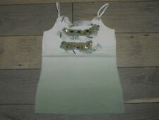 Justice green & ivory ombre summer tank top cami shirt with trim size 12