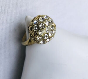 Large Ring Gold Tone Fitting With Clear Rhinestones Medium Size R