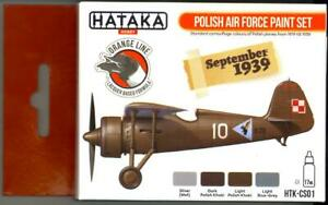 Hataka Hobby Paints WWII POLISH AIR FORCE COLORS Orange Line Lacquer Paint Set