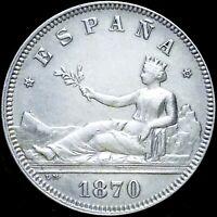 SPAIN 1870 (73) DE-M ☆ SILVER HISPANIA 2 PESETAS ☆ UNC ☆ RARE THIS NICE ☆