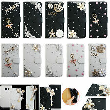 For iPhone Phone Bling Crystal Rhinestone Diamond Wallet Leather Case Cover TY