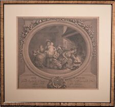 "Antique Jean Honore Fragonard Engraving ""Les Beignets"" Framed & Beautiful!"