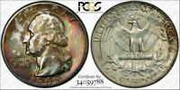 1958-D Silver Washington Quarter PCGS MS66 Multi Color Toned Gem