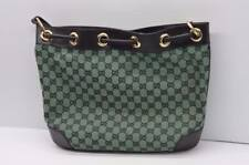 Gucci Black & Green Canvas Leather Trimmed Logo Accents Bucket Bag {62917B42}