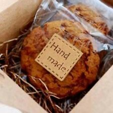 Kawaii zakka square kraft tag brown gift baking cookie bag label seals handmade