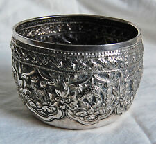THAI SOLID SILVER BOWL -OLD, heavily embossed ANIMALS & FOREST            (3G16)