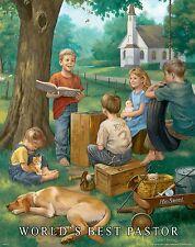 Religious Motivational Poster Print Art World's Best Pastor Gift Jesus MVP325