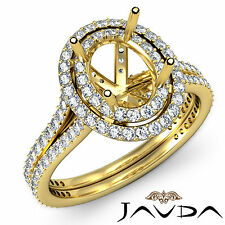 Diamond Engagement Pre-Set Ring Oval Semi Mount 1.5C 18k Yellow Gold Split Shank