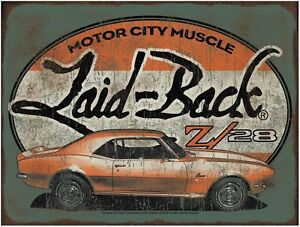 New Laid Back Halfway Camaro Z28 Hot Rod Man Cave Bar Metal Embossed Sign