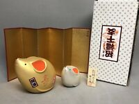 2 Zodiac Hakata Traditional Japanese Good Luck Mouse Year of Rat Figurines & Box