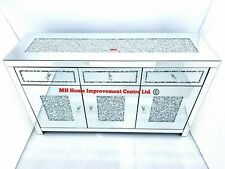 Mirrored Sideboard Sparkly Silver Diamond Crush Crystal. Can be used as TV Unit