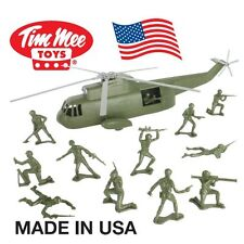 TimMee Plastic Army Men HELICOPTER Playset: Olive Green 26pc - Made in USA