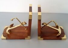Antique brass nautical ship anchor bookend set wooden home office decor table